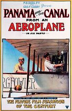 """AVIATION POSTER ART """"PANAMA CANAL FROM AEROPLANE"""" AMERICAN MOVIE POSTER 1912"""