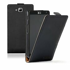 Ultra Slim BLACK Leather Case Cover pouch for Phone LG Optimus L9 II 2 / D605