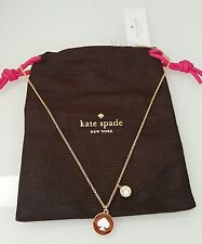 NWT KATE SPADE SPOT THE SPADE CHARM NECKLACE GOLD WHITE CLEAR W DUST BAG