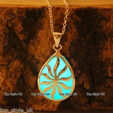 Aqua Glow in the dark Necklace Tear Sun Flower Best Friend Unique Birthday Gift