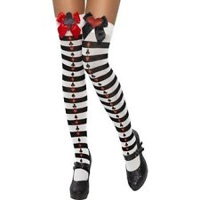 Ladies Alice Playing Card Stockings Fancy Dress Hold Ups & Bows New by Smiffys