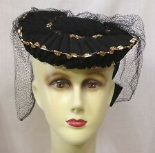 Vintage Womans Tilt Hat with Felt Bow Gold Fabric Trim Pleats Veiling 1940s