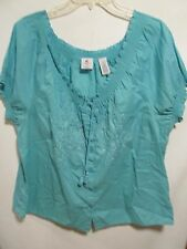 Caribbean Joe women plus size 1X Blue short sleeve Lot#3
