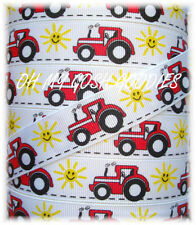 7/8 OH MY BIG RED SEXY TRACTOR GROSGRAIN RIBBON 4 HAIRBOW BOW SCRAPBOOKING 10YD
