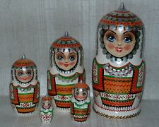 Matryoshka Russian Wooden  Handmade Nesting Dolls  Set 5pc Souvenir