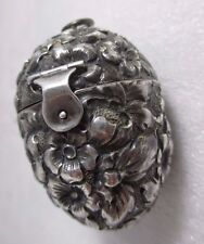 Sterling Floral Egg ETUI hallmarked George W. Shiebler ;Original Antique,c1900's
