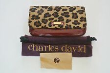 Multi-Color  Animal Print Calfhair/ Patent Leather CHARLES DAVID Clutch