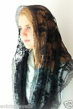 Lovely Chapel Veil Mantilla Infinity Veil Latin Mass Black Roses &  Lace