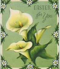 VINTAGE GARDEN FLOWERS YELLOW WHITE GREEN CALLA LILY EASTER GREETING CARD PRINT