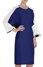 "$428 BCBG RUNWAY BT LRKSPUR BLUE ""DARYA"" L-SLEEVE COLOR-BLOCK SILK DRESS NWT XXS"