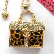 Betsey Johnson full crystal sexy golden Leopard handbag pendant Necklace #591L