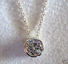 "4.13 Ct Sterling Silver .925 Round White Cubic Zirconia Pendant with 18"" chain"