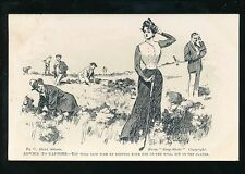 Sport GOLF Advice to caddies Lady Player line drawing artist C Gibson 1905 PPC