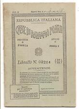 CASSE DI RISPARMIO POSTALI - LIBRETTO POSTALE FOGGIA N.3 VIA ARPI - 28.12.1951