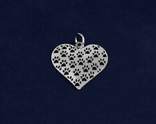 Sterling Silver-Plated Dog Cat Paw Prints Heart Charm - SALE BENEFITS RESCUE