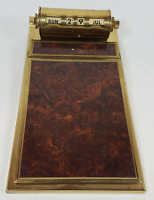 Vintage Brass Perpetual Calendar and Paper Notepad