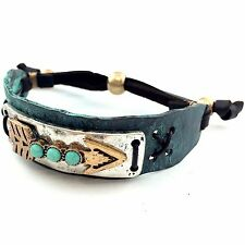 WESTERN COWGIRL TRITONE HAMMERED PLATE ARROW TURQUOISE LEATHER CUFF BRACELET