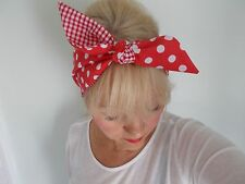 HEAD SCARF HAIR BAND  RED POLKA DOT GINGHAM SELF TIE BOW  ROCKABILLY  PIN UP NEW
