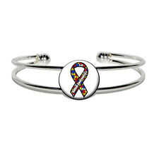 Autism Awareness Ribbon on White - Silver Plated Metal Cuff Bangle Bracelet