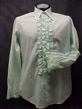 Vintage Ruffled Tuxedo Shirt Retro Green & Black 13.5/33 Mens Extra Small New