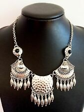Silver Feather Vintage Style Bohemian Mexican Gypsy Tibet Tassel Necklace