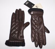 U1957 UGG Australia Brown Leather Cashmere Touch Screen Compatible Gloves S - M