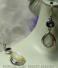 "Teardrop MOP & Amethyst 1 3/8"" Dangling Sterling Silver 925 Estate wire EARRINGS"