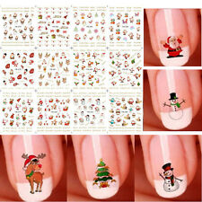 12 Sheets Christmas Snowflakes Snowmen Water Transfer 3D Nail Art Stickers
