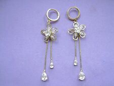 Beautiful 14k real Yellow GOLD Drop Dangle Earrings w/ Crystal Flowers Must See!