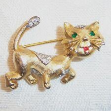 ADORABLE VINTAGE PANETTA RHINESTONE KITTY CAT BROOCH PIN