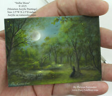 Philippe Fernandez Original ACEO Miniature Painting Forest Moon Landscape Trees