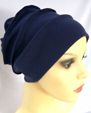 HEADWEAR FOR HAIR LOSS, CHEMO COMFORTABLE JERSEY COTTON SLOUCH CAP BEANIE. NAVY