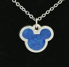 NEW Disney Mickey Mouse Necklace & Pendant Set 925 Silver Tone Blue Women's 18""