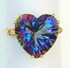 Womens 10K Solid Gold Ring 10.74ct Mystic Topaz Heart Victoria Wieck Sz 9 1/4