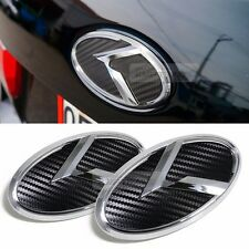 3D K Logo Front Grille Rear Trunk Carbon Black Emblem Badge For KIA 07-08 Rondo