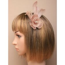 Light Brown Nude Latte Feather Fascinator Flower Diamante Style Hair Clip Brooch