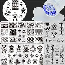 7Pcs/Set Nail Art Stamping Plates  Geometry Image Template W/Stamper Scraper Kit