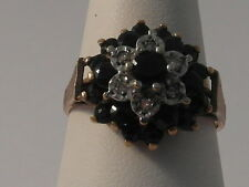 984F LADIES 9CT MULTI-TONE GOLD SAPPHIRE AND DIAMOND CLUSTER  RING SIZE M