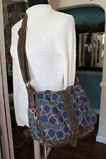 Fossil Floral Fabric Brown Leather Messenger CrossBody Handbag Blue