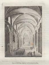 1839 Chiesa dell'Incoronata Napoli incisione in rame