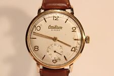 """VINTAGE RARE GOLD PLATED CLASSIC SUB SECOND MEN'S SWISS WATCH""""OMIKRON"""" 21 J."""