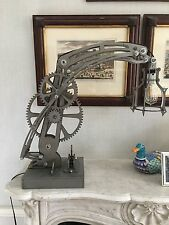 Heavy Steel steampunk style mechanical desk lamp. Industrial Age art