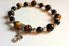 tiger eye & onyx gemstone bracelet charm om ohm aum symbol yoga positive energy