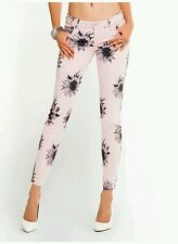 New Guess Kate Mod Sunflower-Print Pink Denim Leggings size 24