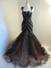 BIBHU Mohapatra New York (Sz. US10) Black/Taupe/Pink Tulle Fit&Poof Gown Dress