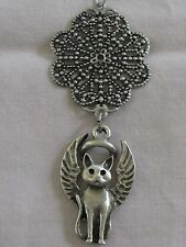 Pewter Guardian Angel Kitty-Cat Christmas Ornament~Memorial Keepsake~Lucky Charm