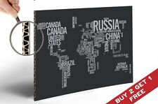 WORLD MAP IN WORDS Poster Print 30x21cm Photo Paper on Thick Cardboard Art Deco