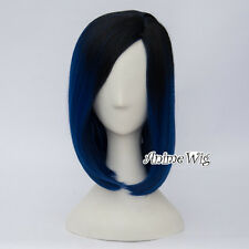 40CM Black Mixed Royal Blue Wavy Women Party Ombre Cosplay Wig Heat Resistant