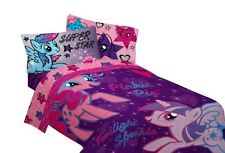 Girls Purple Pink Flat Fitted Soft Bedroom Bedding Sheet Set - My Little Pony
