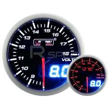 Prosport 52mm Smoked White Amber DC Voltage 9-18v Gauge with Dual Display